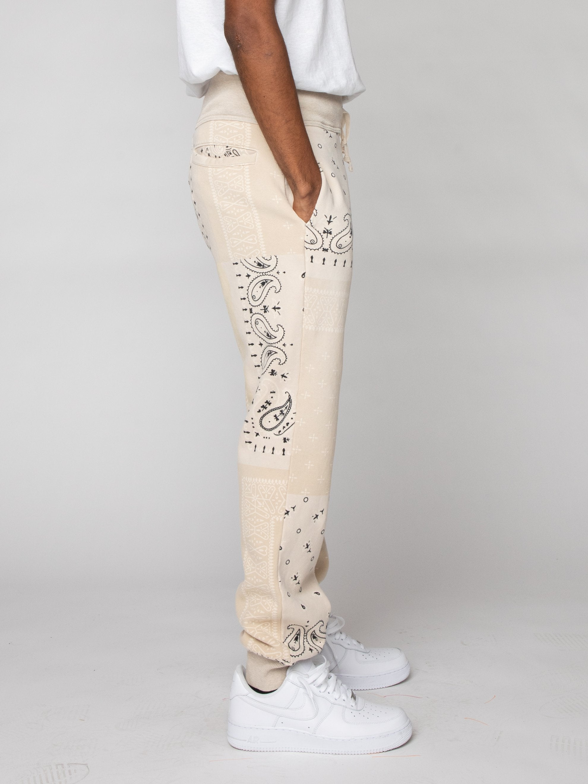 Ecru Fleece Knit BANDANA Sweatpants 4