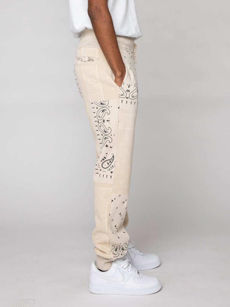 Ecru Fleece Knit BANDANA Sweatpants 416191247515725