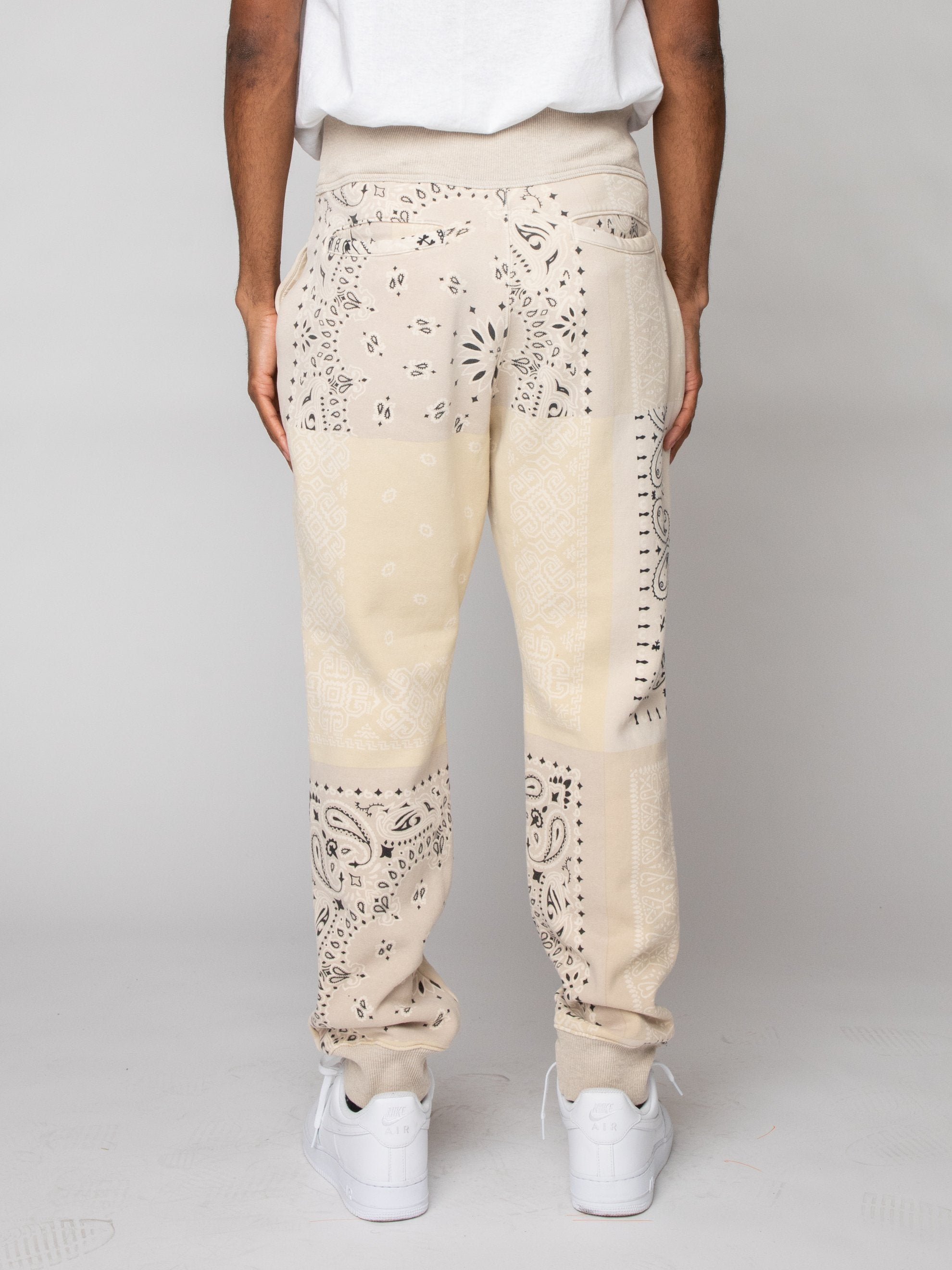 Ecru Fleece Knit BANDANA Sweatpants 5