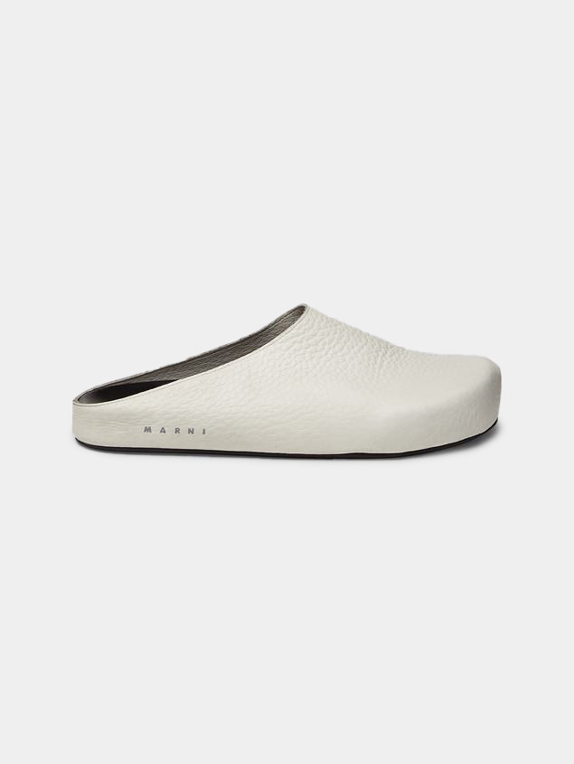 White Leather Clogs 1