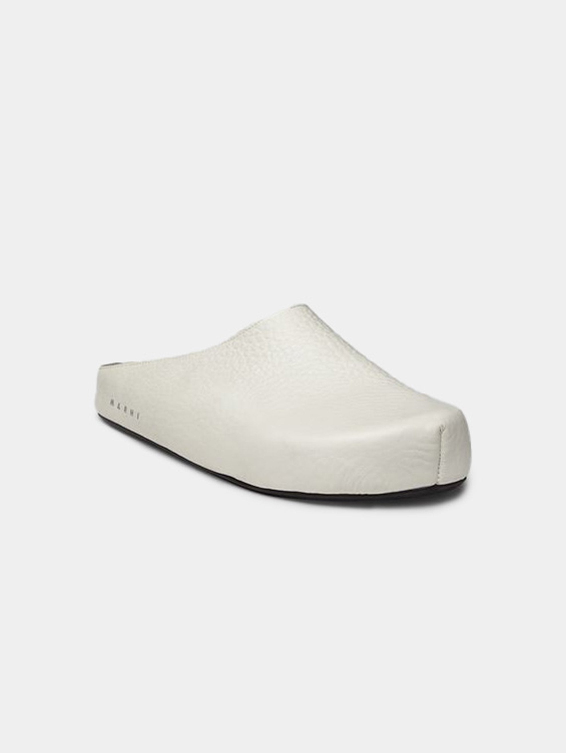 White Leather Clogs 2