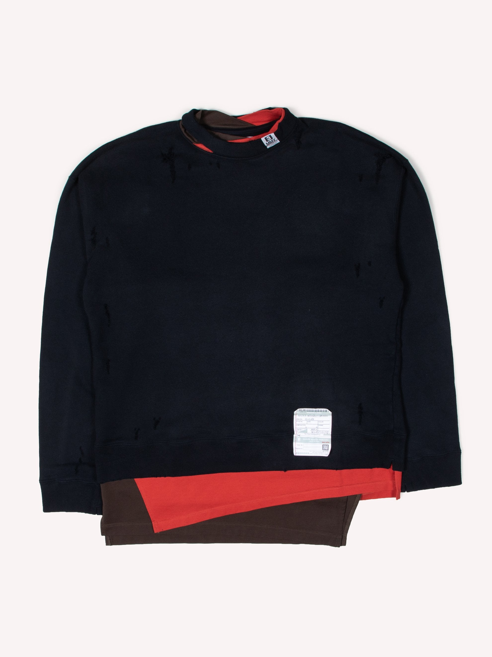 Black Layer Damaged Pullover 1