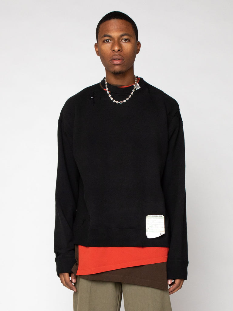 Black Layer Damaged Pullover 216246509994061