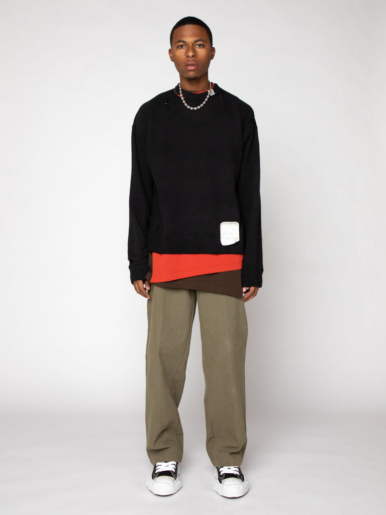 Black Layer Damaged Pullover 316246510387277