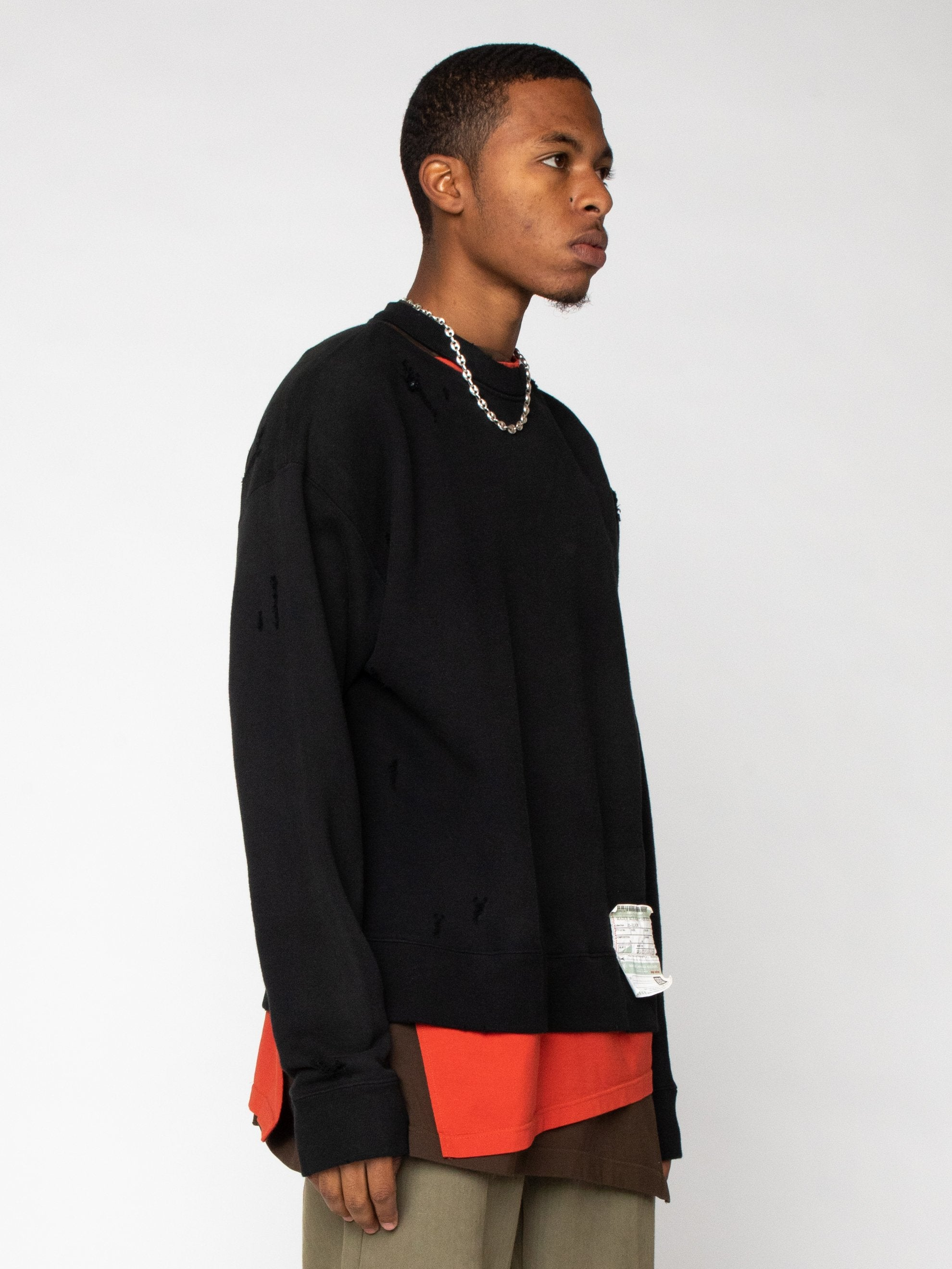 Black Layer Damaged Pullover 4