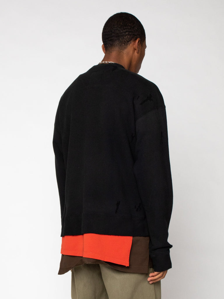 Black Layer Damaged Pullover 516246511042637