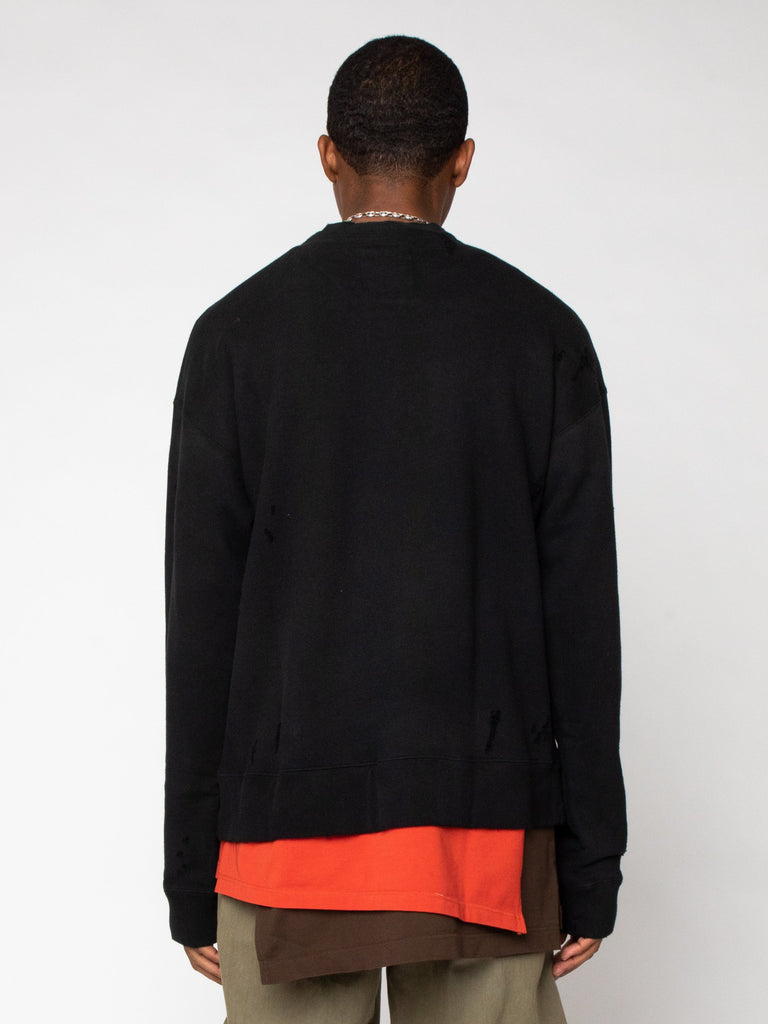 Black Layer Damaged Pullover 616246511337549