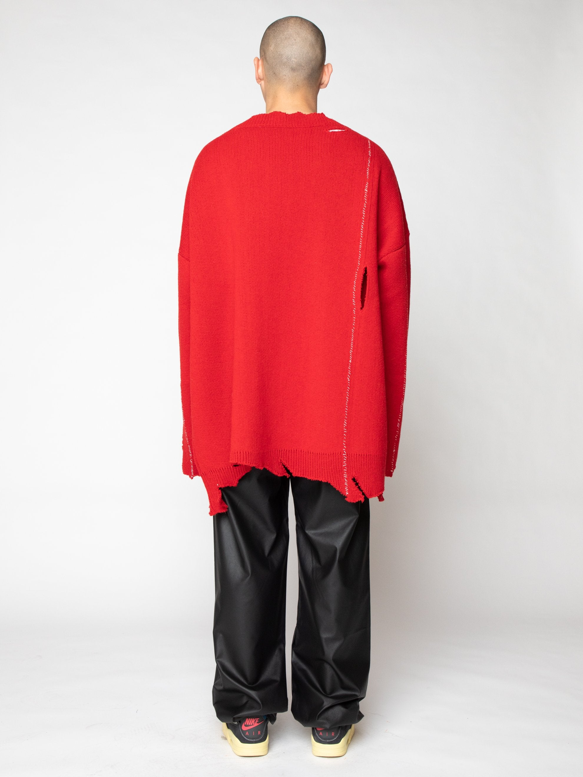 Red Oversized Destroyed V-Neck Sweater With F-Badge 5