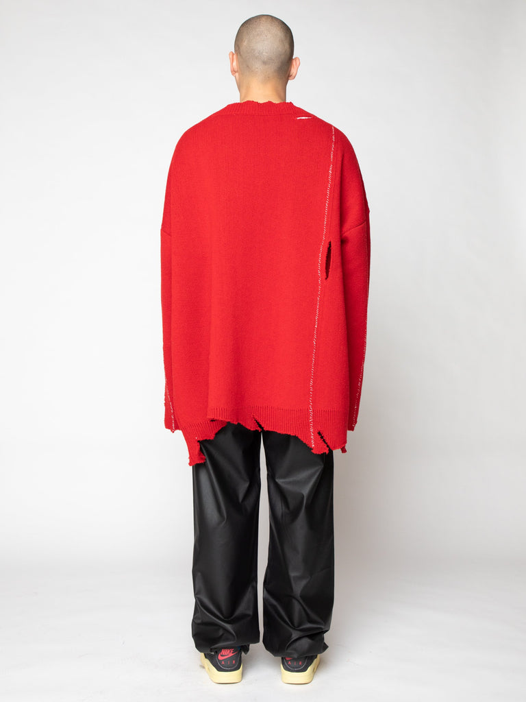 Red Oversized Destroyed V-Neck Sweater With F-Badge 516259628793933