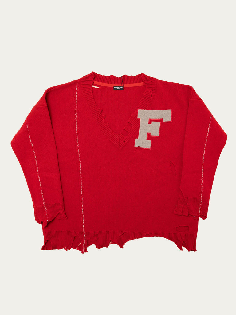 Oversized Destroyed V-Neck Sweater With F-Badge
