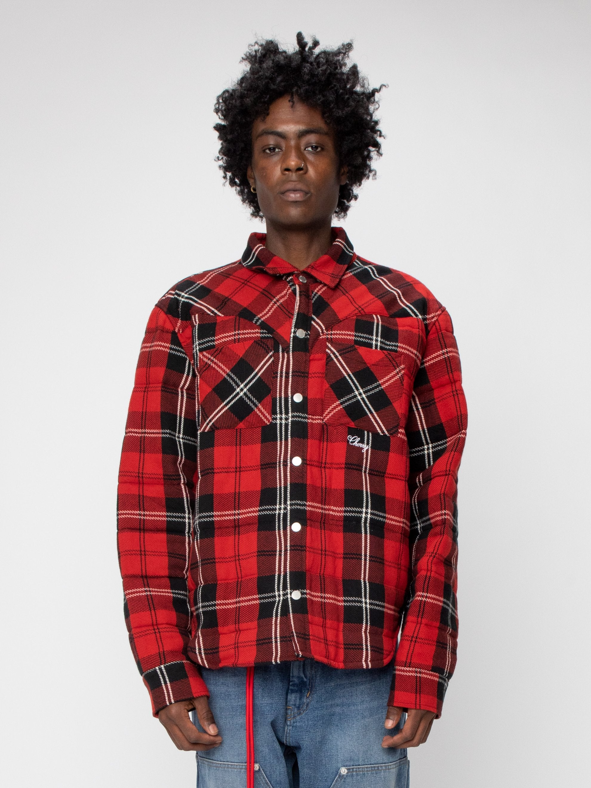 Red Plaid Quilted Down Shirt Jacket 2