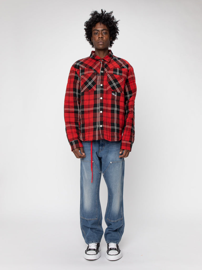 Red Plaid Quilted Down Shirt Jacket 316306719129677