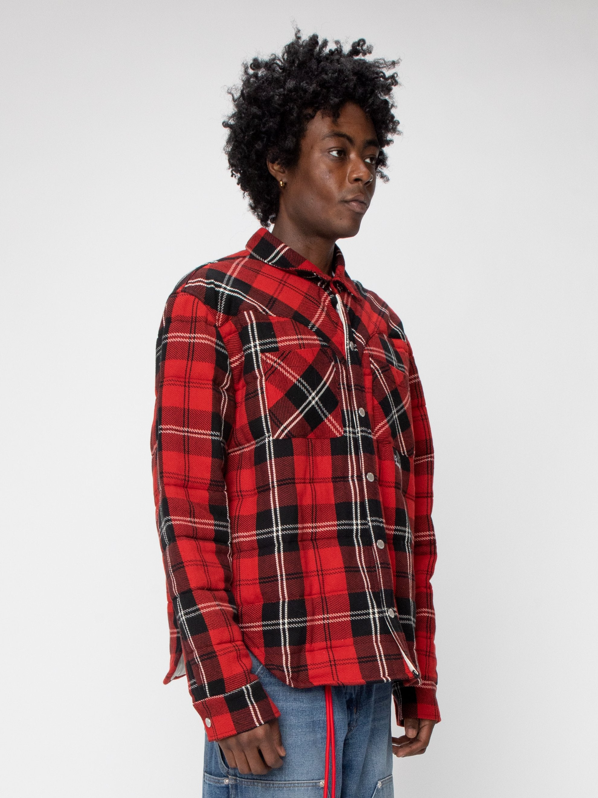 Red Plaid Quilted Down Shirt Jacket 4