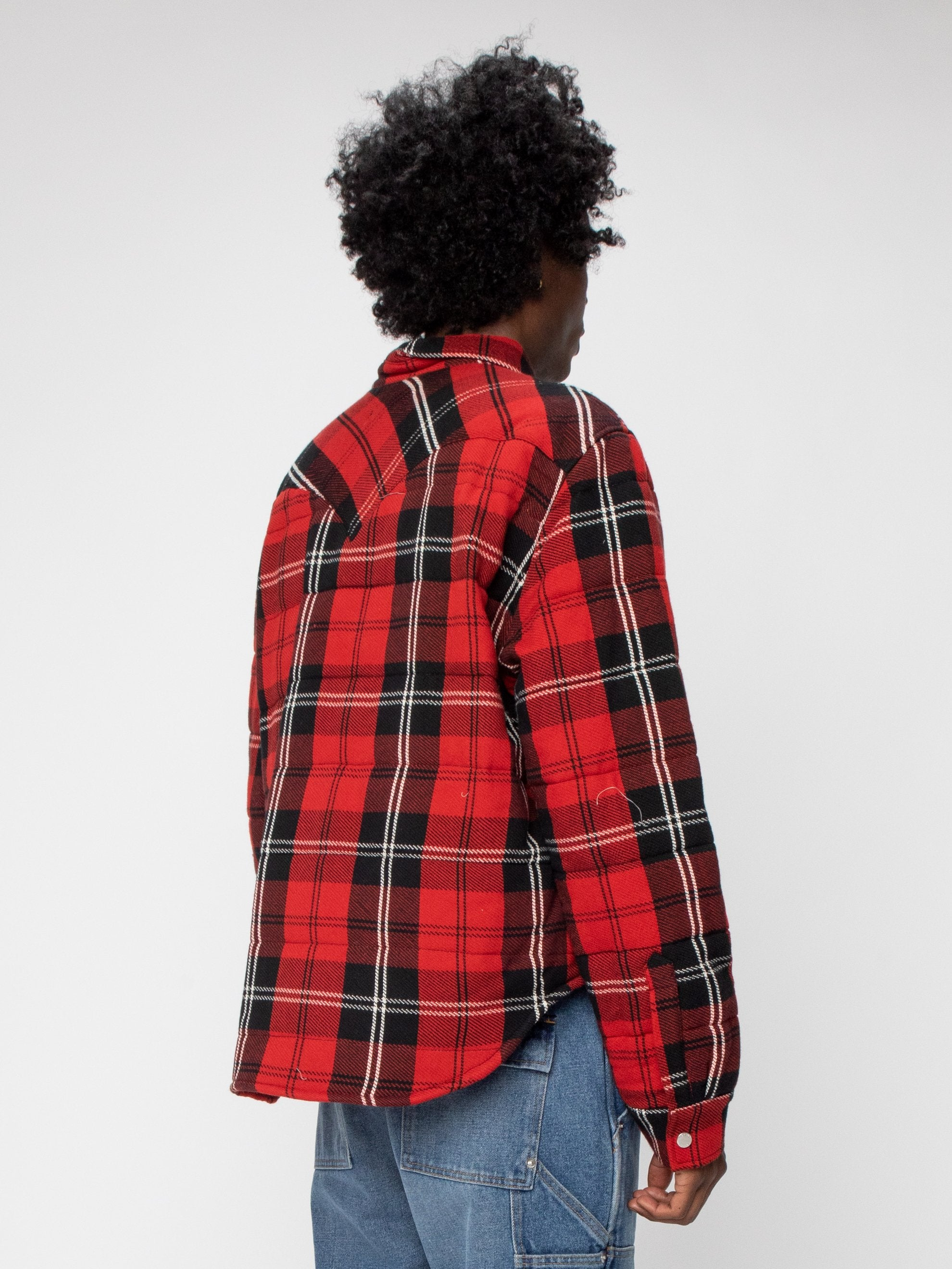 Red Plaid Quilted Down Shirt Jacket 5