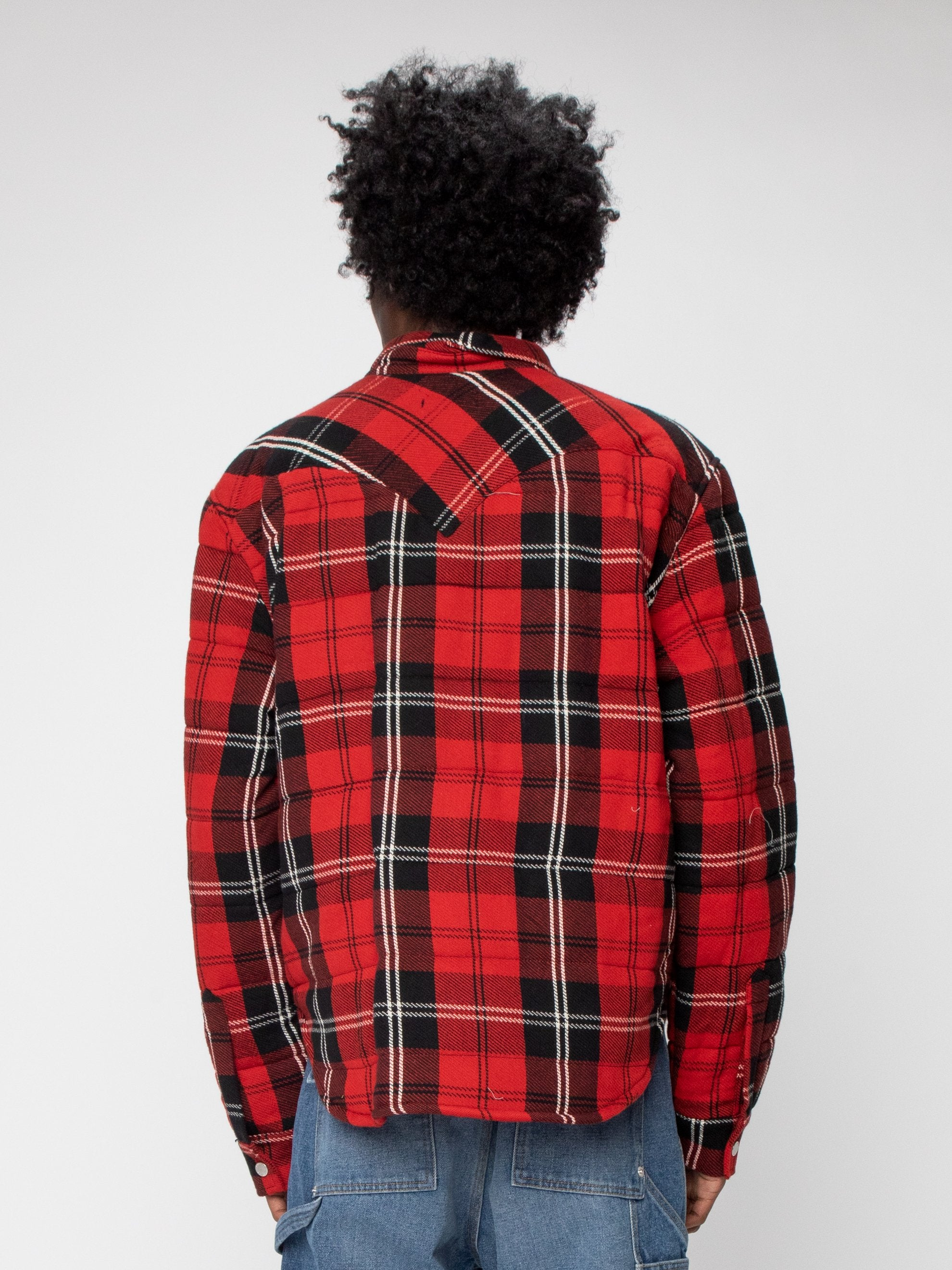 Red Plaid Quilted Down Shirt Jacket 6