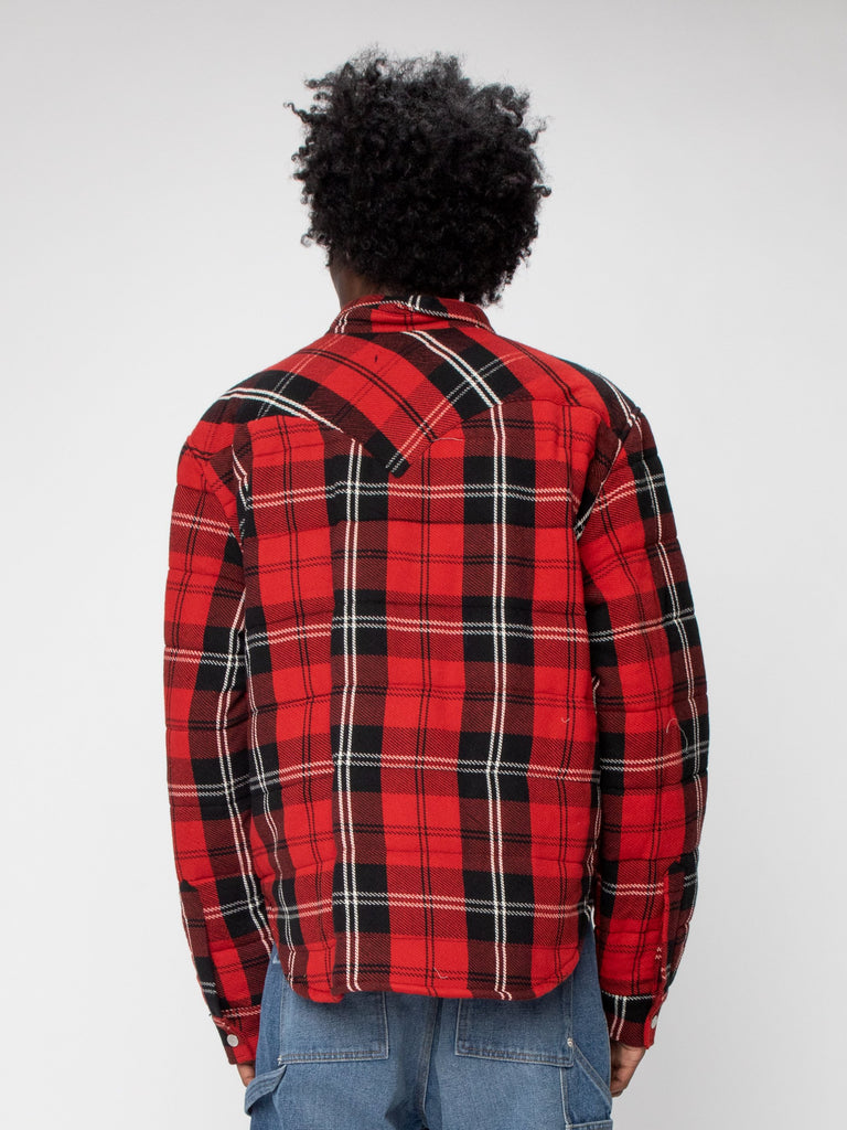 Red Plaid Quilted Down Shirt Jacket 616306720473165