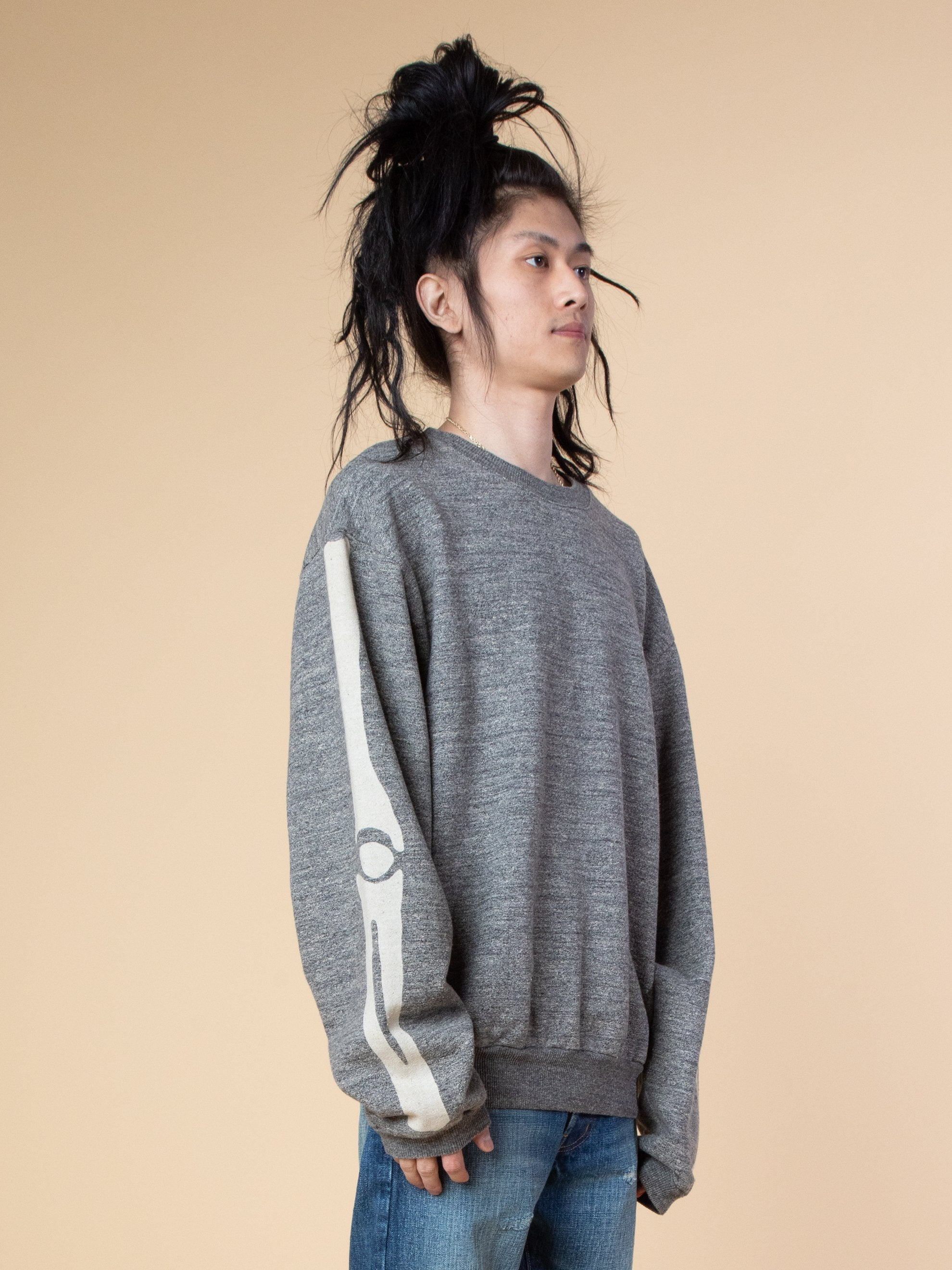 Grandrelle Fleece Knit Big Crew Swt (Bone)