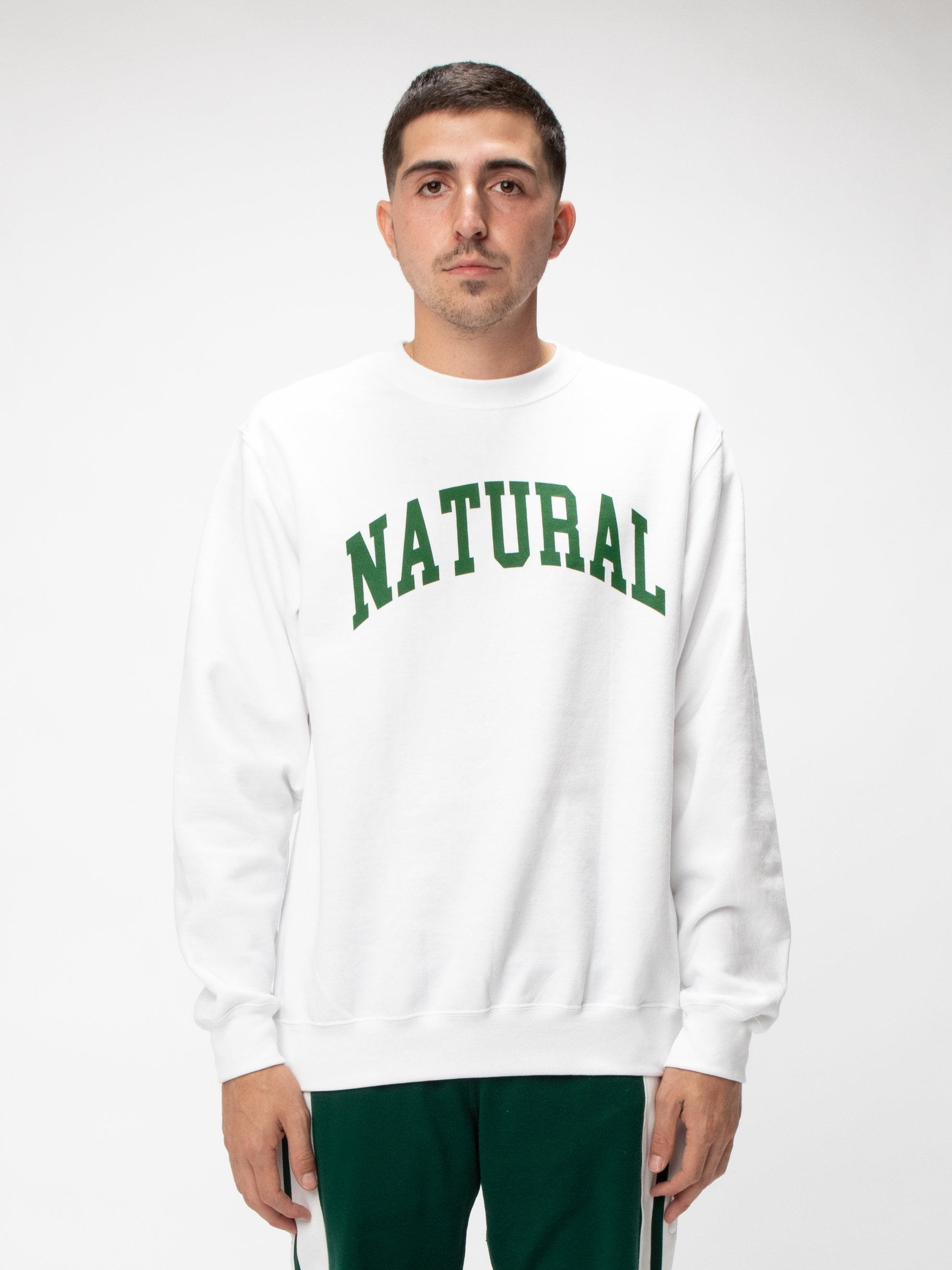 White Natural Fleece Crew UNION 3