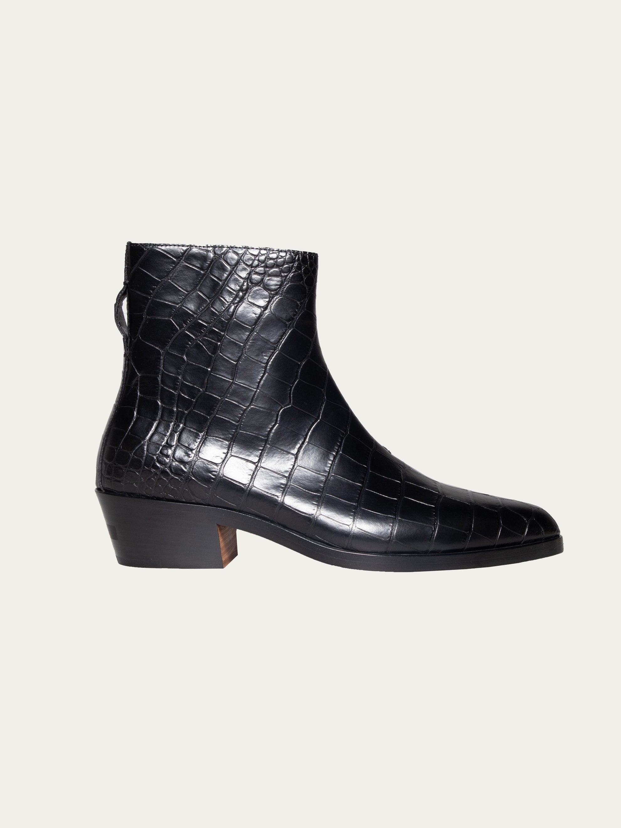 Black FEAROFGODZegna Texan Embossed Leather Boots 1