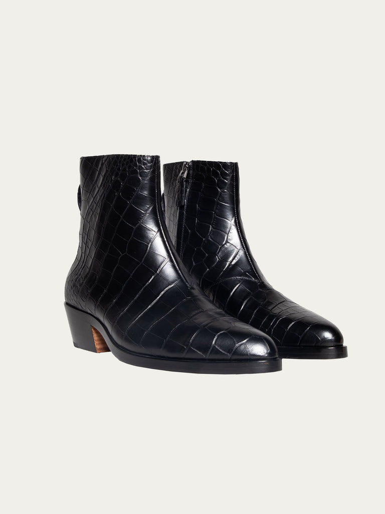 Black FEAROFGODZegna Texan Embossed Leather Boots 215823370125389