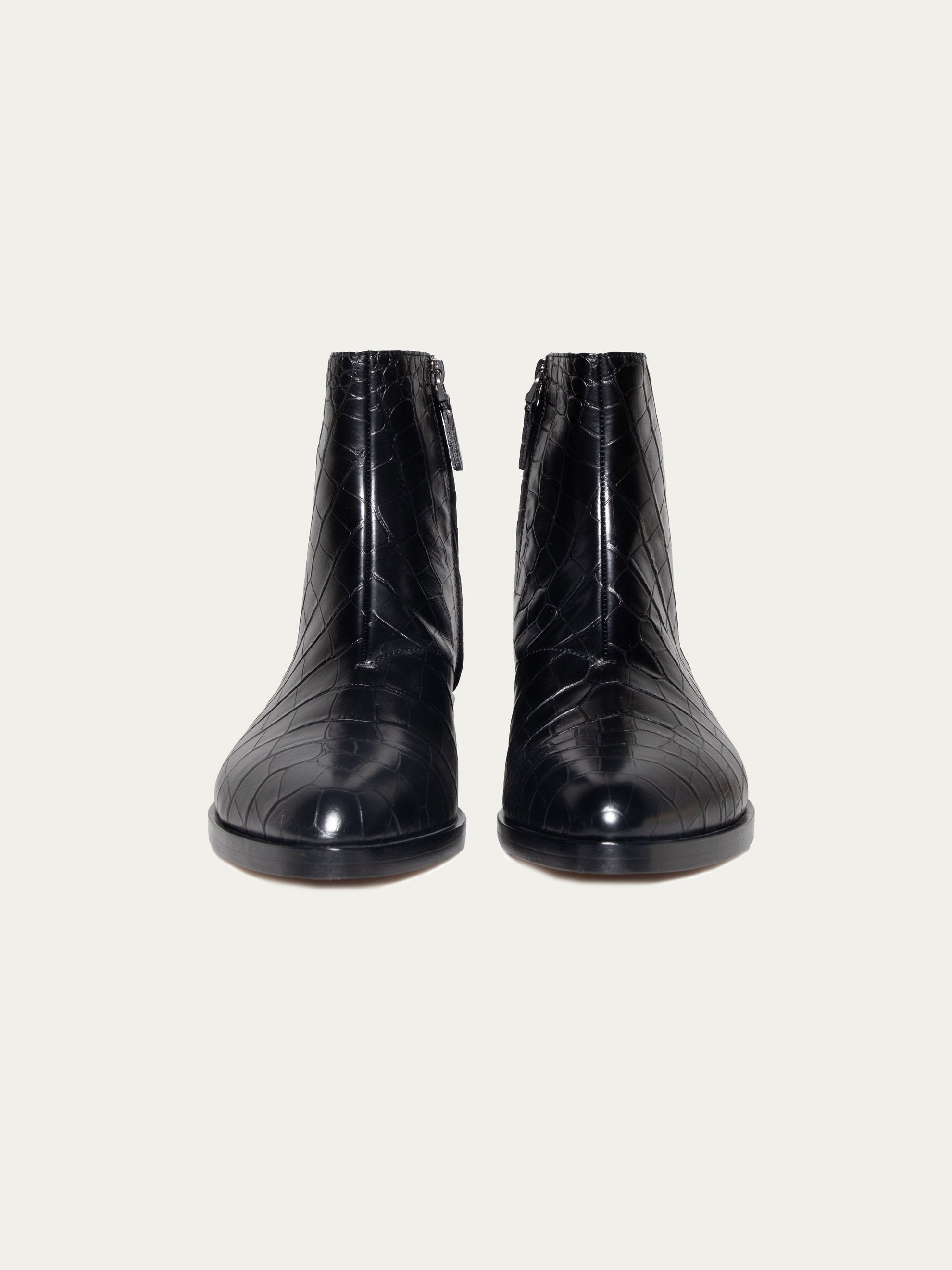 Black FEAROFGODZegna Texan Embossed Leather Boots 3