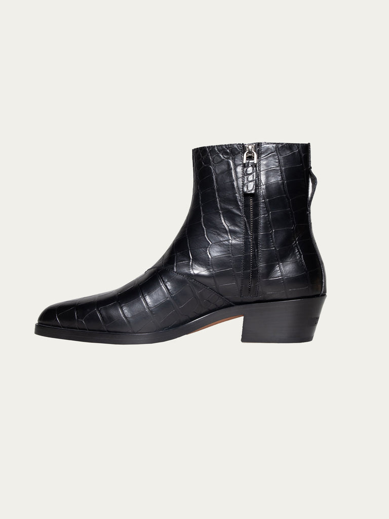 Black FEAROFGODZegna Texan Embossed Leather Boots 415823370977357