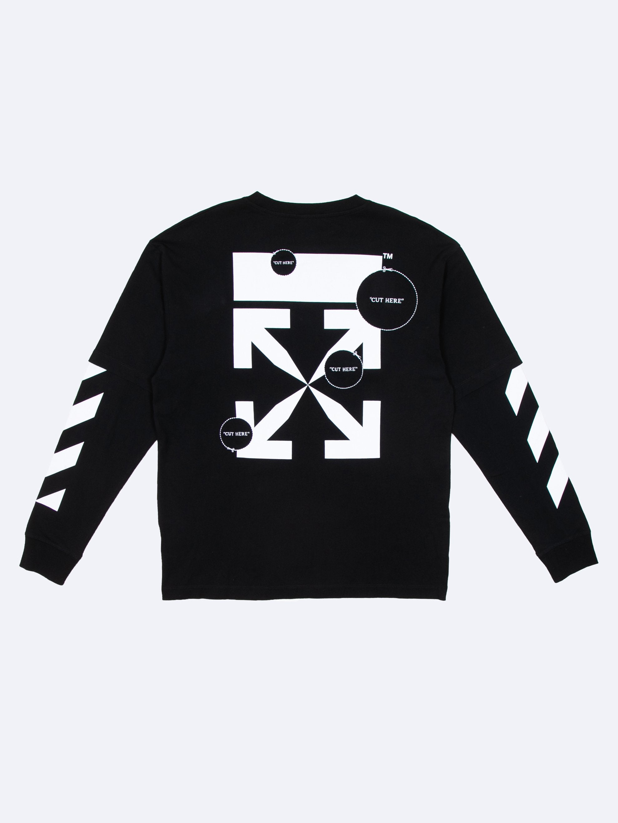 Black 'Cut Here' Long Sleeve T-Shirt 1