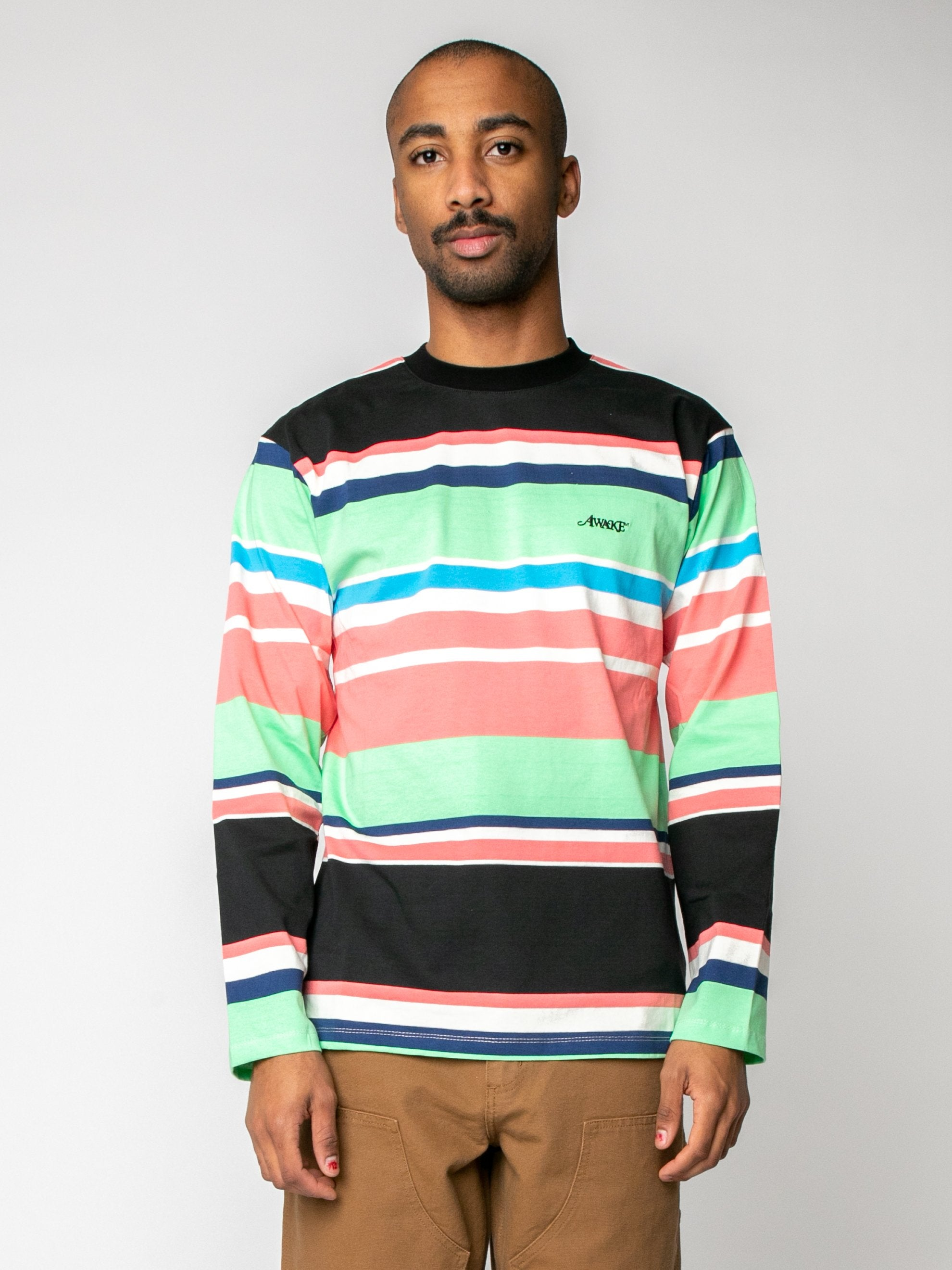Black Embroidered Logo L/S Striped T-Shirt 2