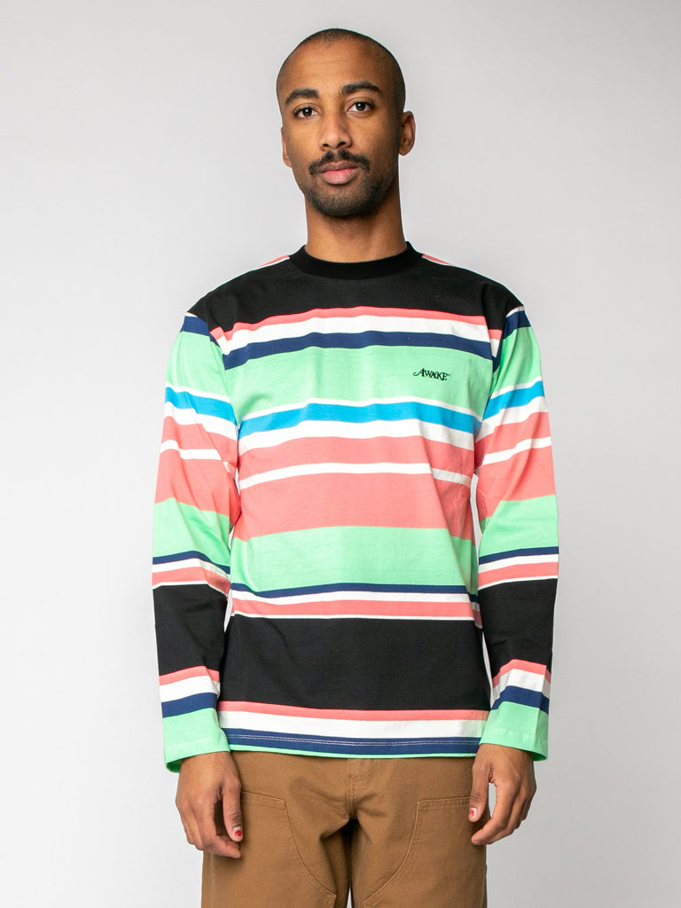 Black Embroidered Logo L/S Striped T-Shirt 215973815451725