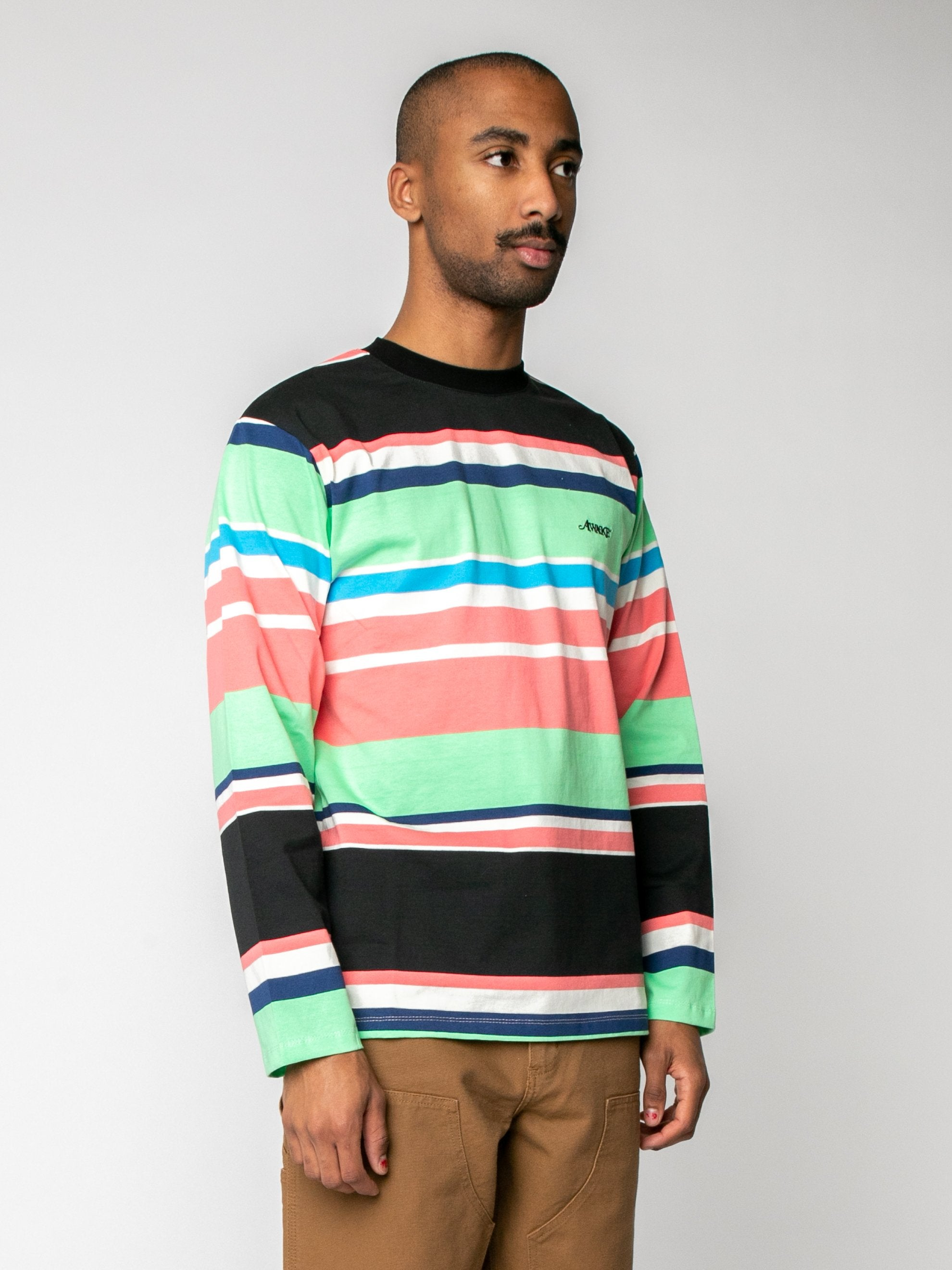 Black Embroidered Logo L/S Striped T-Shirt 4