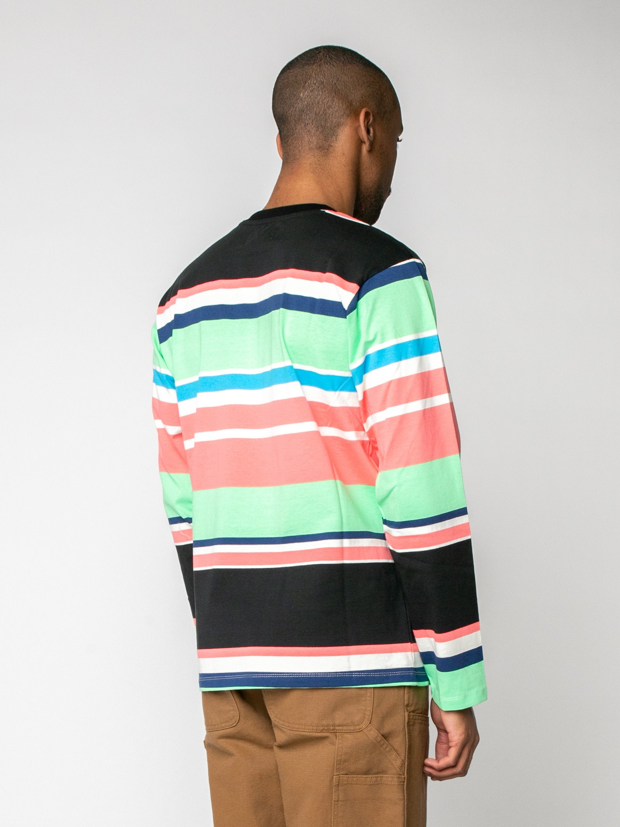 Black Embroidered Logo L/S Striped T-Shirt 5