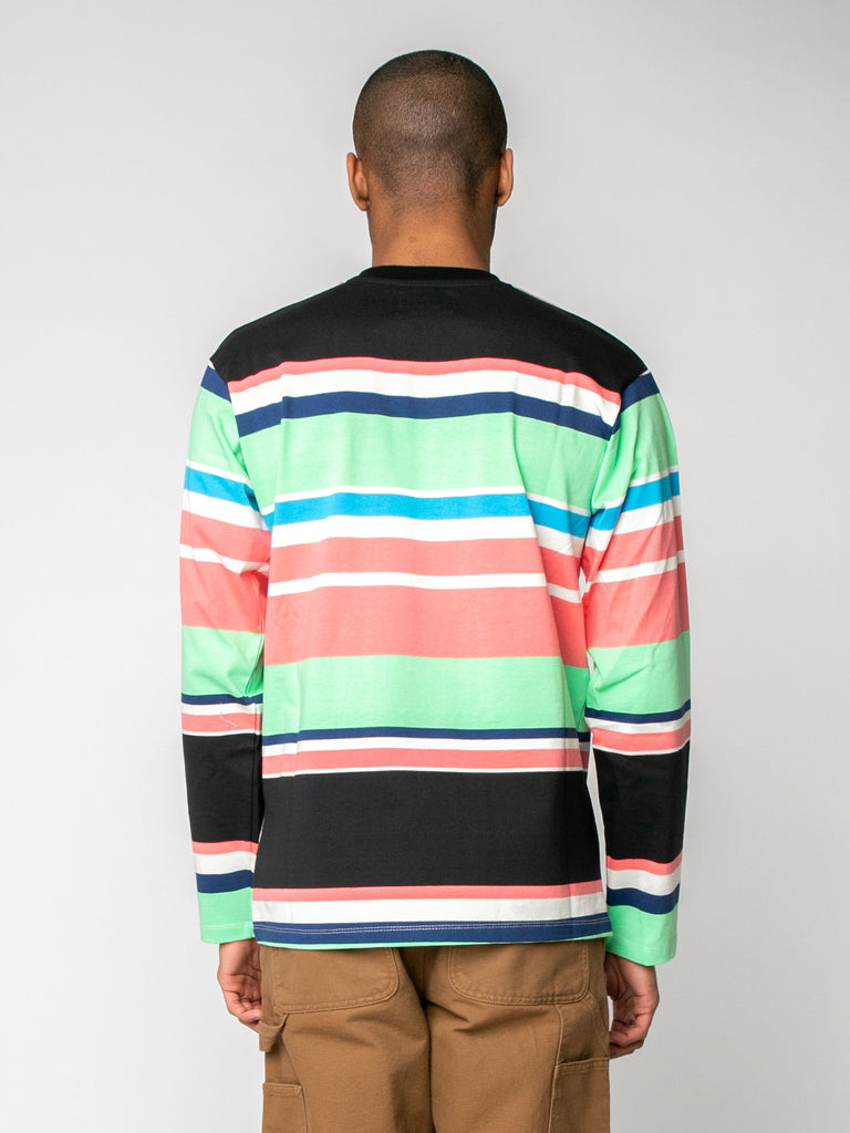 Black Embroidered Logo L/S Striped T-Shirt 615973816860749