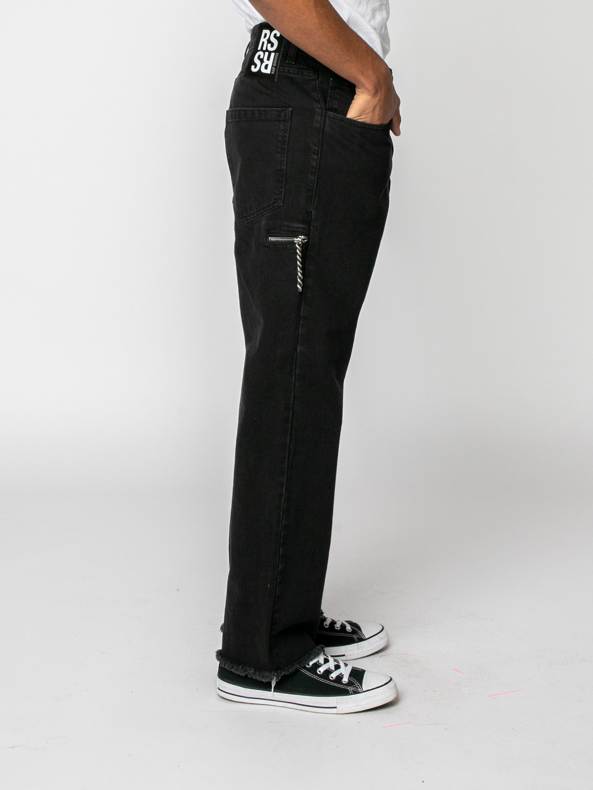 Zip Pocket Cropped Denim Pants