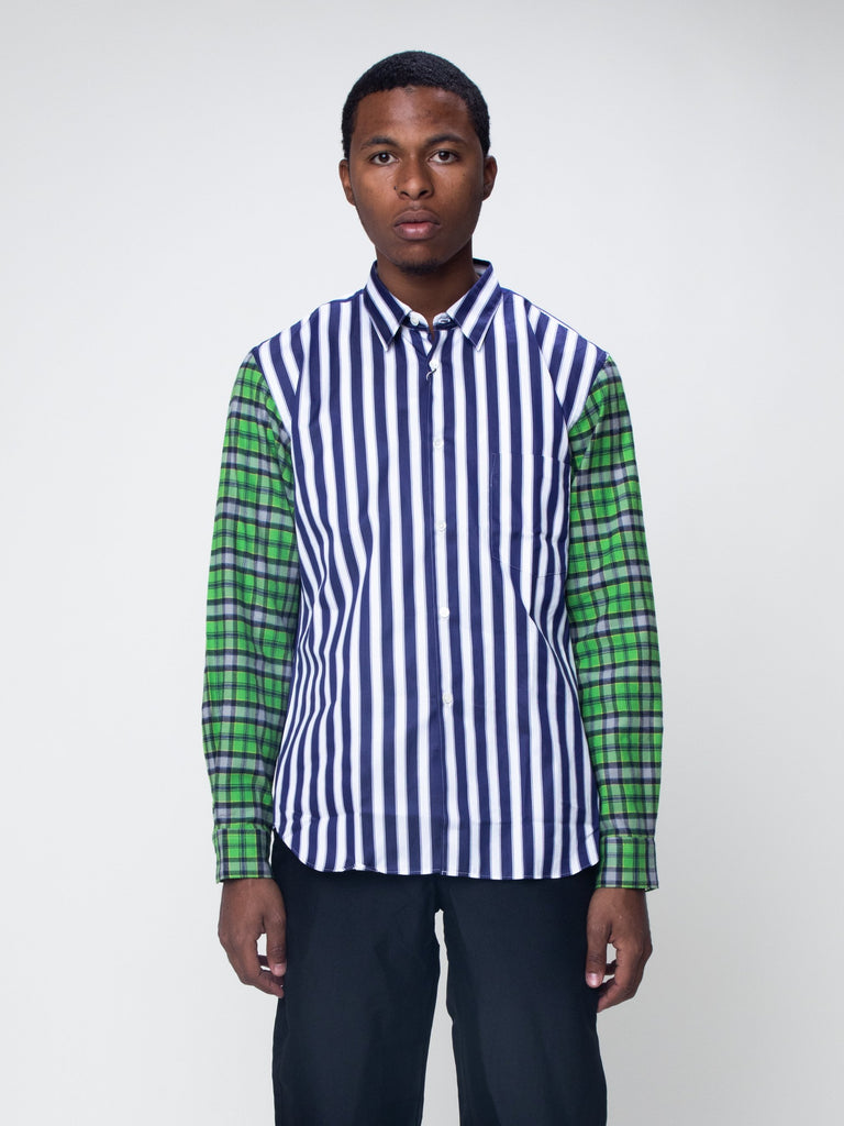 Blue & White Striped Plaid Sleeve Shirt15918931640397