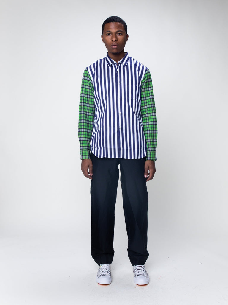 Blue & White Striped Plaid Sleeve Shirt15918932099149