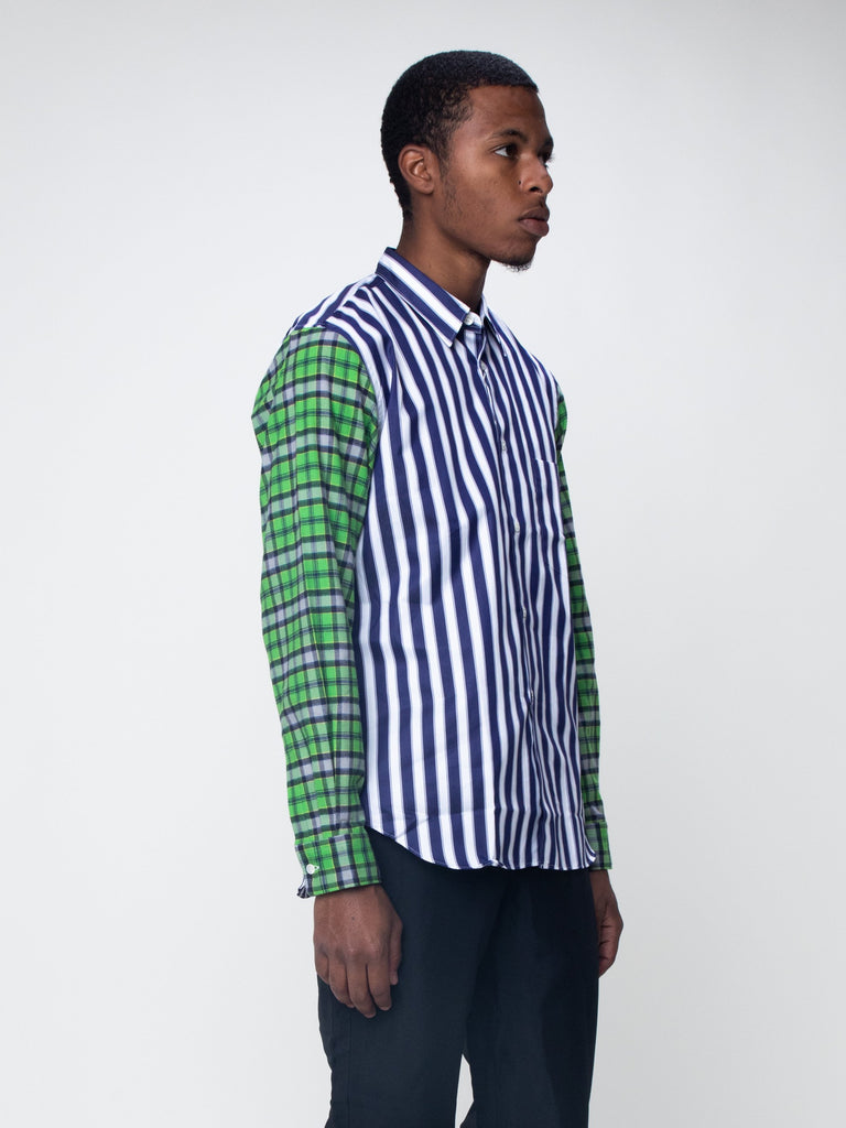 Blue & White Striped Plaid Sleeve Shirt15918933442637