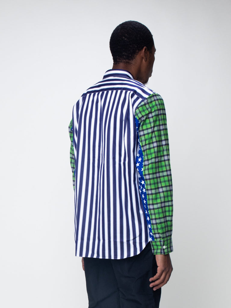 Blue & White Striped Plaid Sleeve Shirt15918933901389