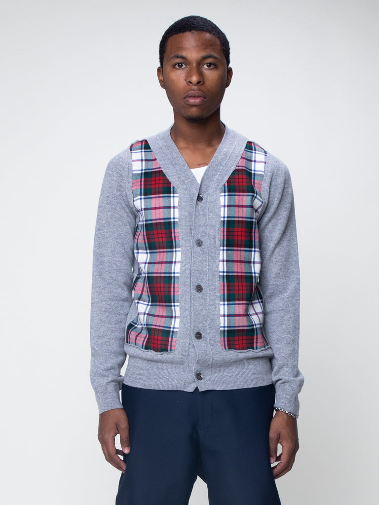 grey-plaid-panel-cardigan
