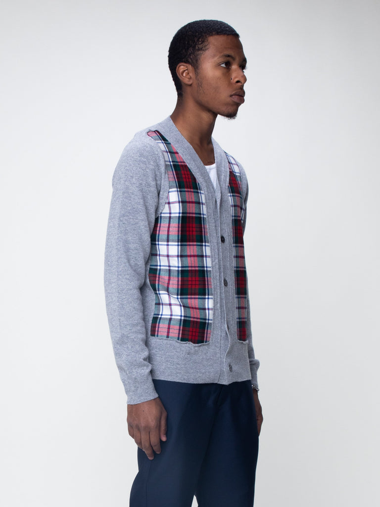 Grey Grey Plaid Panel Cardigan 415918934687821