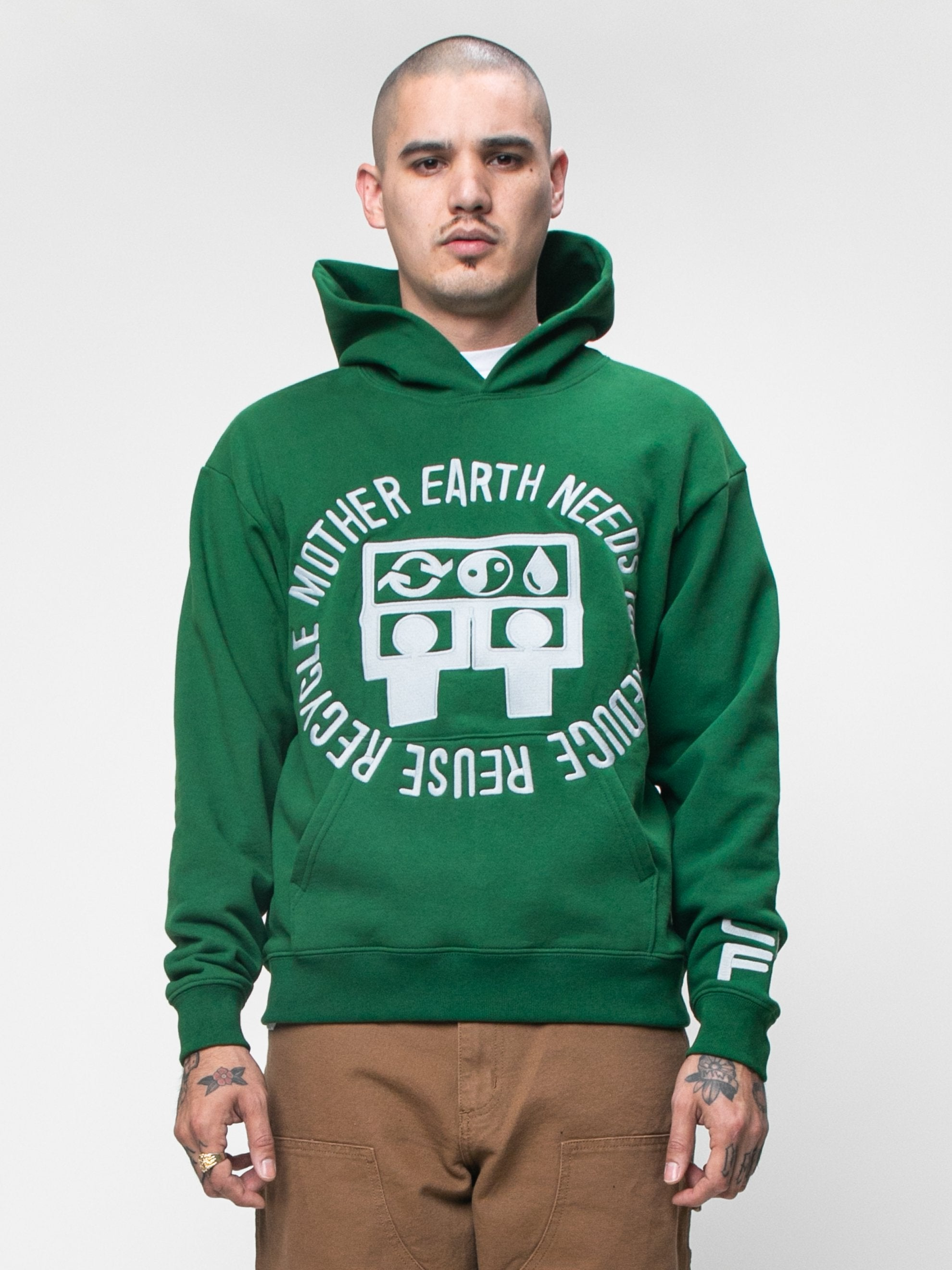 Green CPFM x Eco Mother Earth Hooded Sweatshirt 2