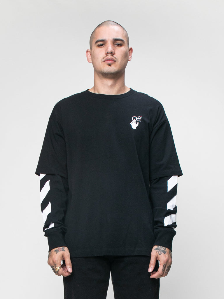 Black 'Cut Here' Long Sleeve T-Shirt 215944745910349