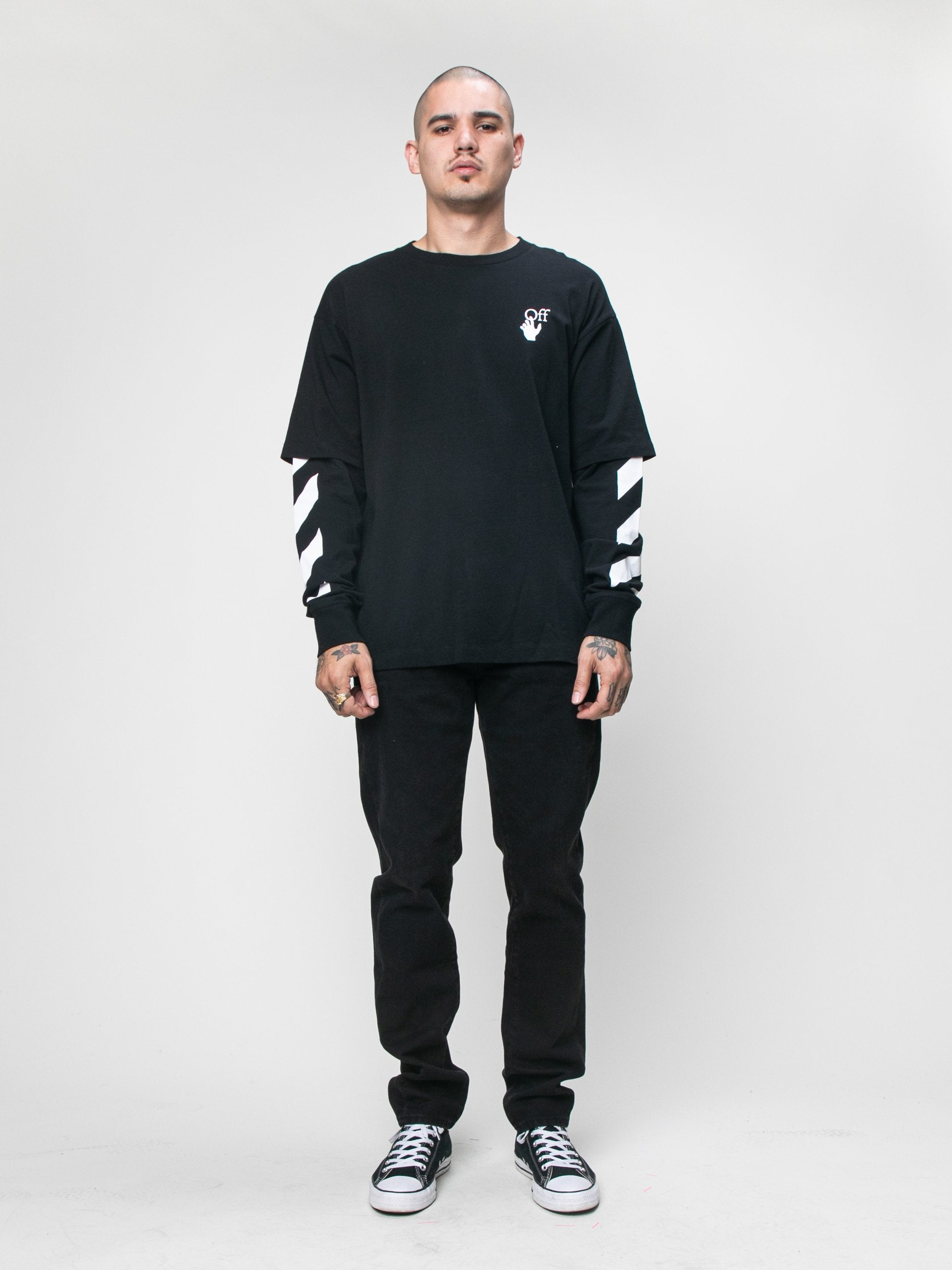 Black 'Cut Here' Long Sleeve T-Shirt 3