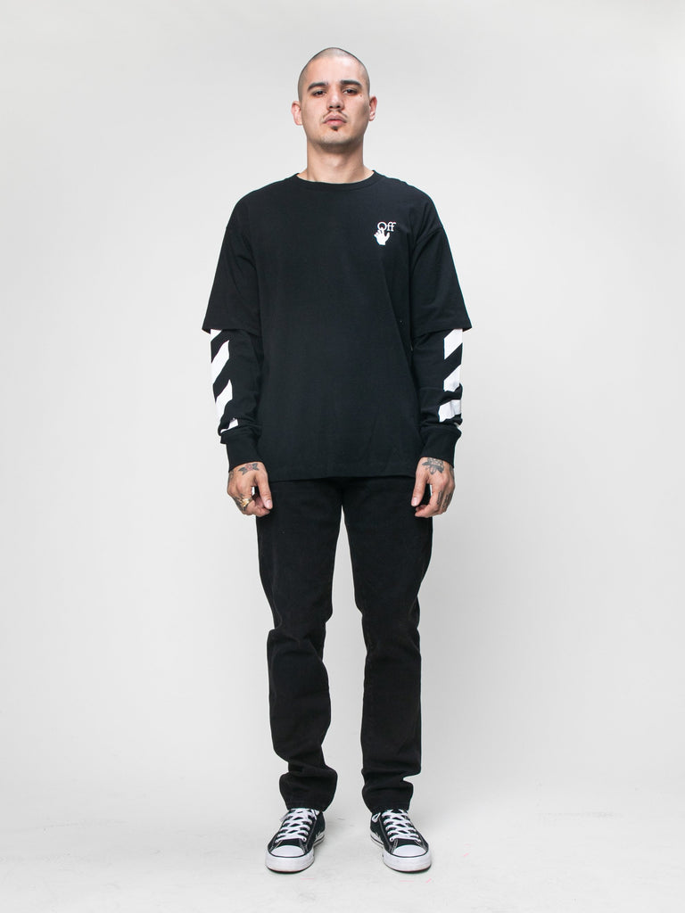 Black 'Cut Here' Long Sleeve T-Shirt 315944747122765