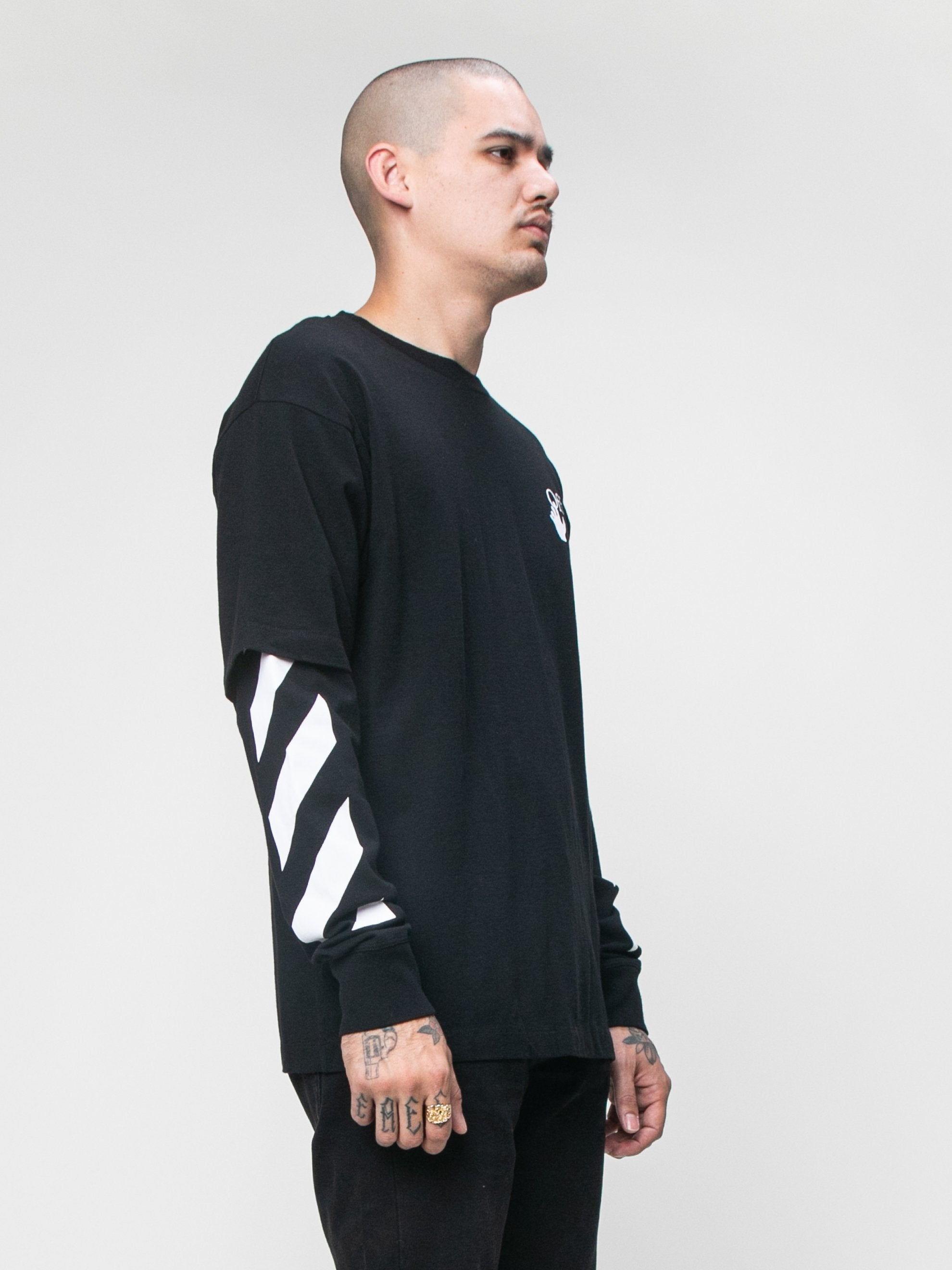Black 'Cut Here' Long Sleeve T-Shirt 4