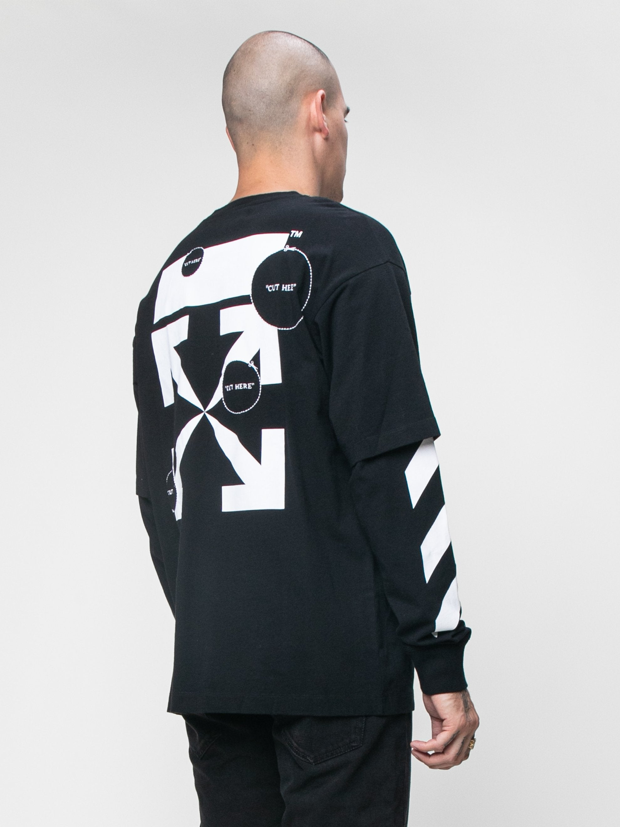 Black 'Cut Here' Long Sleeve T-Shirt 5