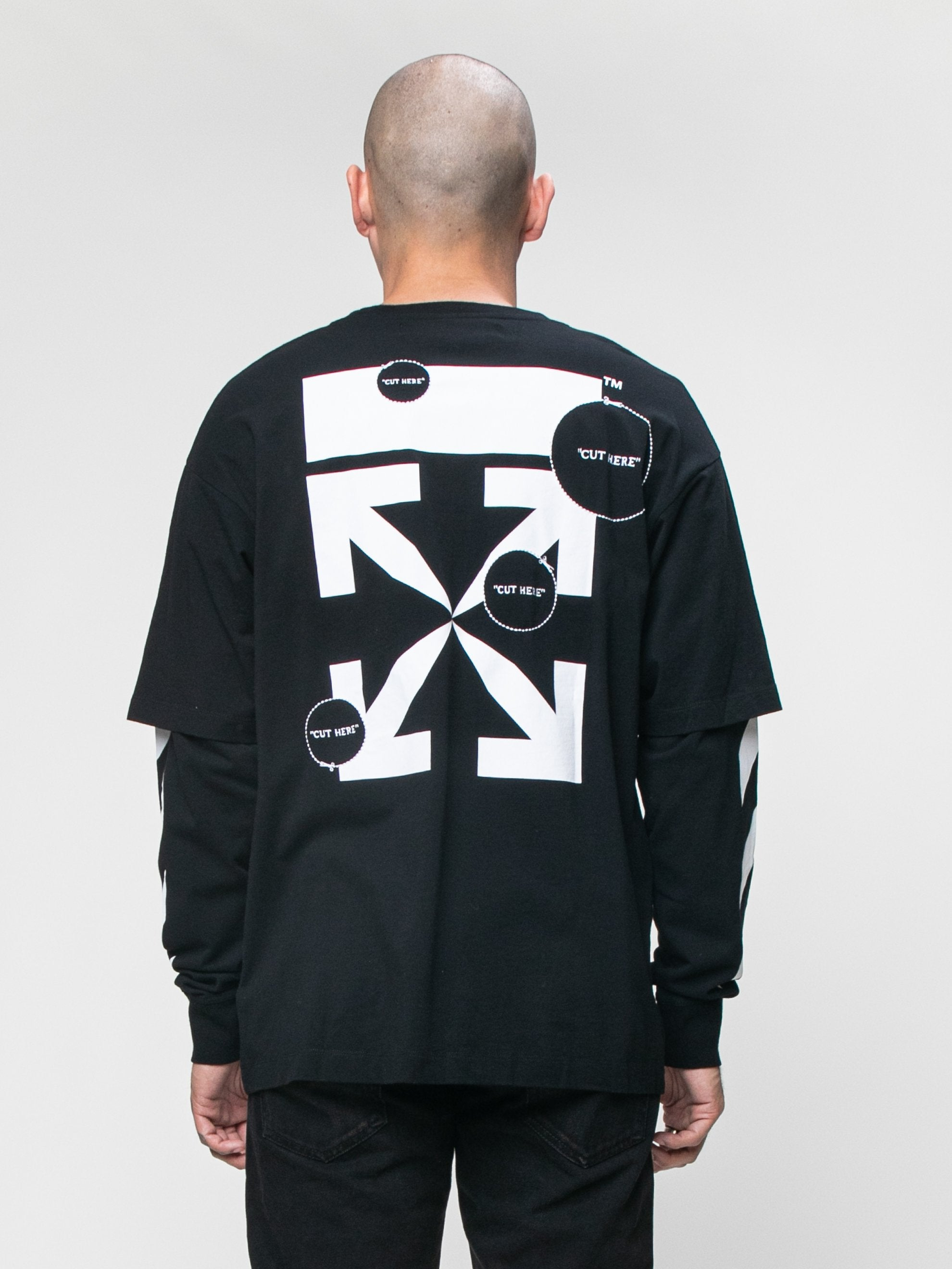 Black 'Cut Here' Long Sleeve T-Shirt 6