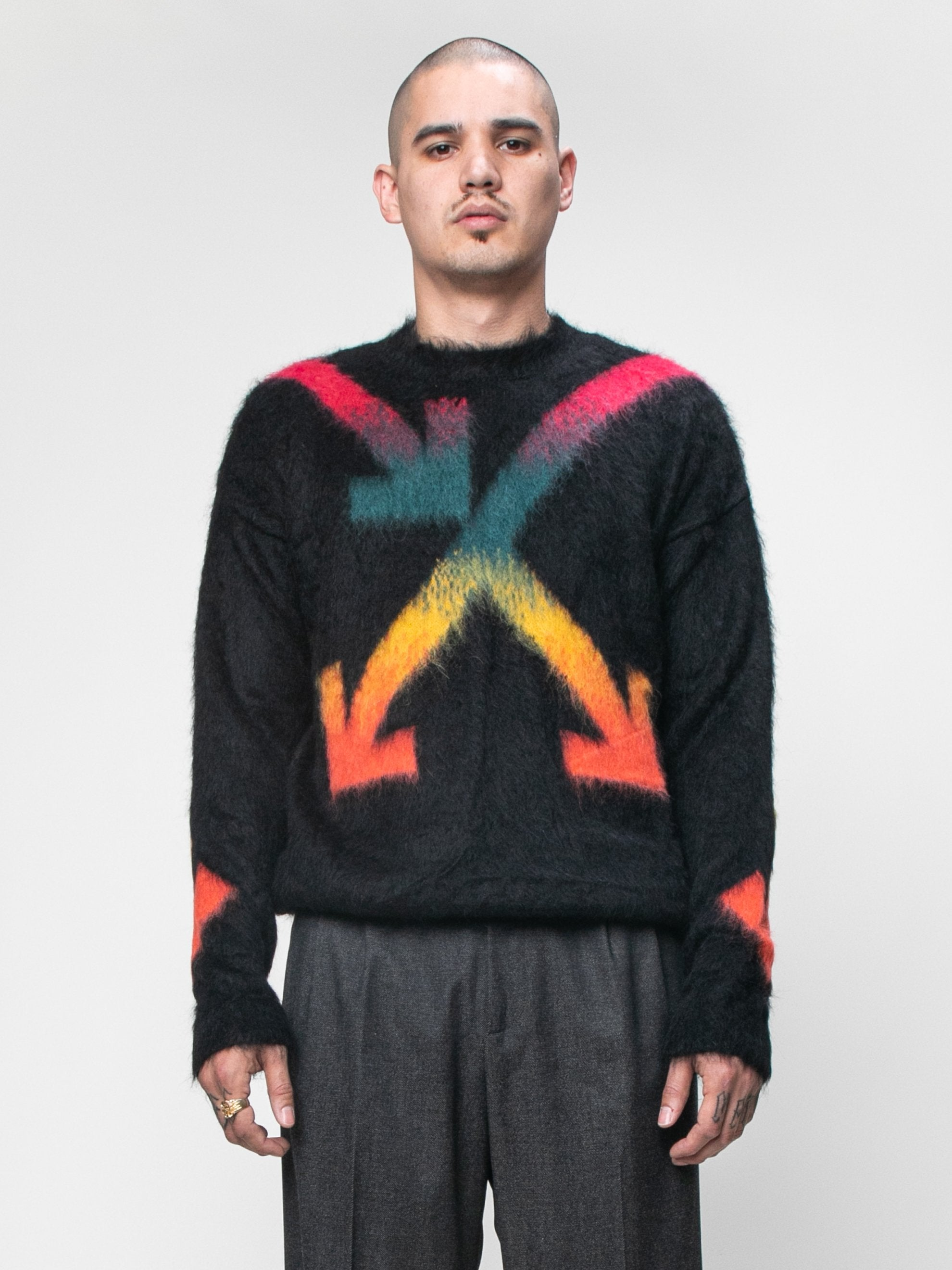Black Fuzzy Arrows Crewneck 2