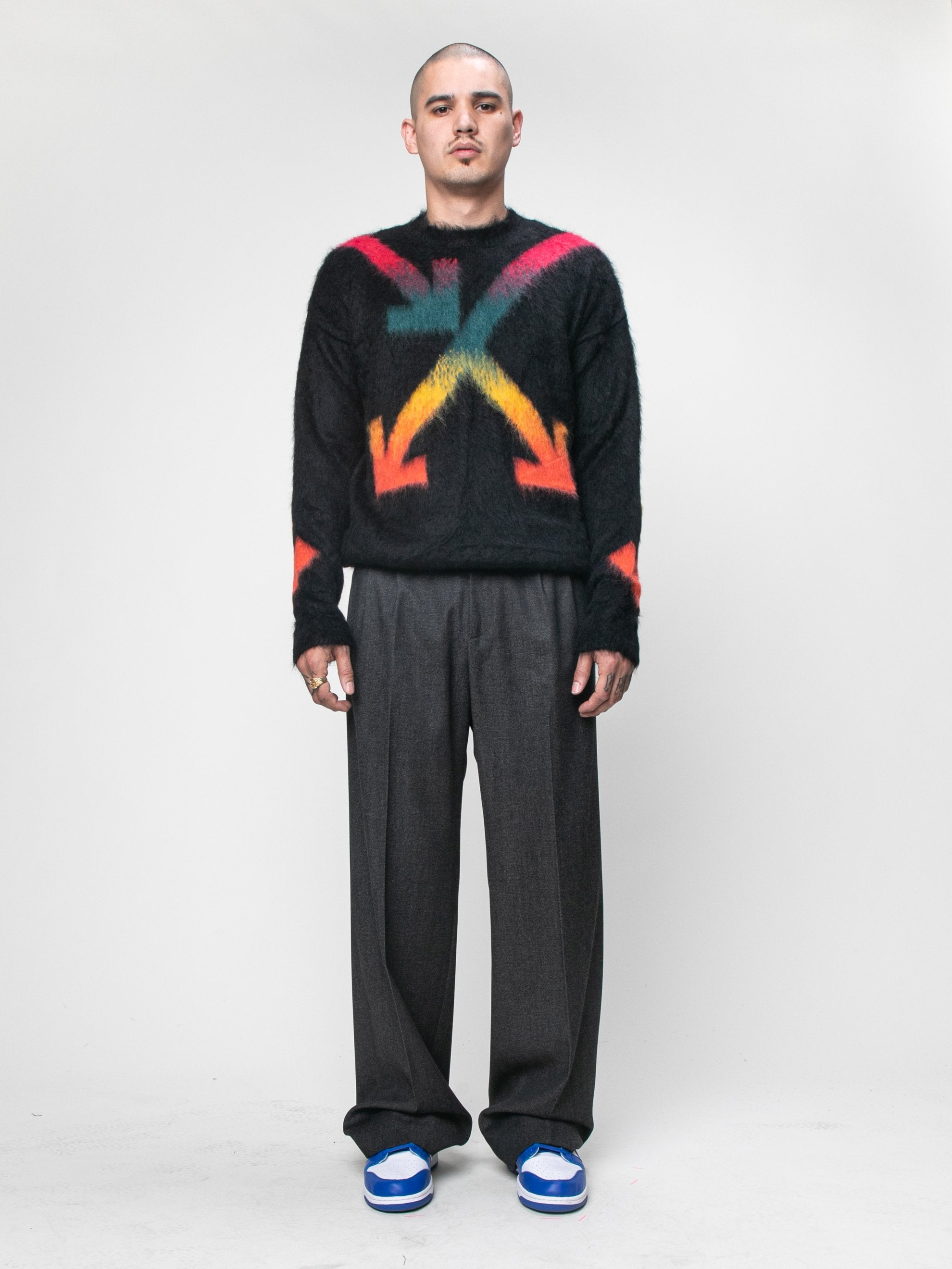 Black Fuzzy Arrows Crewneck 3