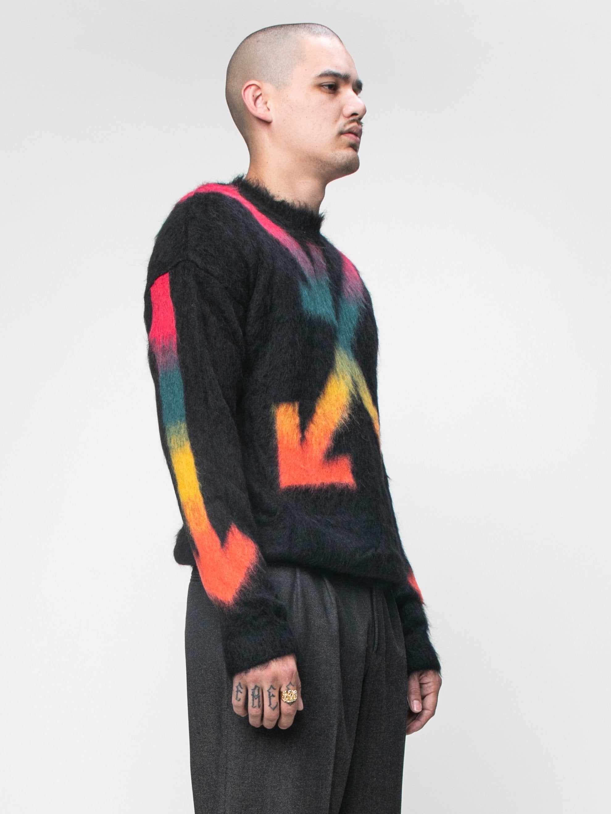 Black Fuzzy Arrows Crewneck 4
