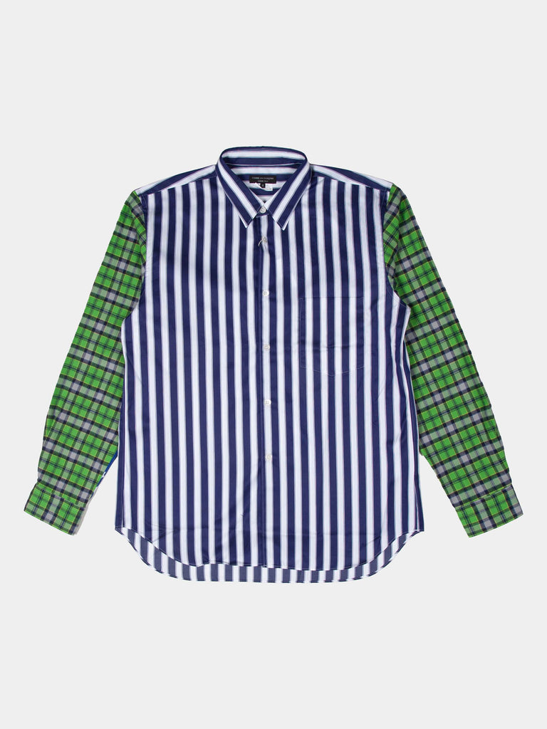 Blue & White Striped Plaid Sleeve Shirt